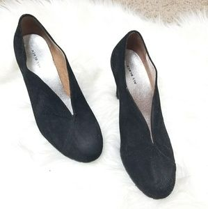 All Black Black Suede V Cutout Bootie Heels